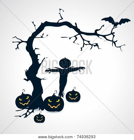 Silhouettes of scarecrow, pumpkins, bat and tree halloween symbol - vector illustration