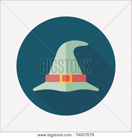 Witch Hat Flat Icon With Long Shadow,eps10
