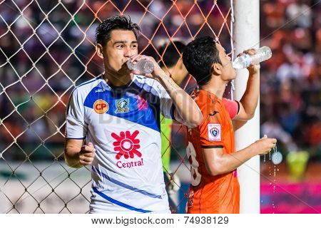 Sisaket Thailand-october 22: Nataporn Panrit Of Air Force Central Fc. Drinking Water During Thai Pre