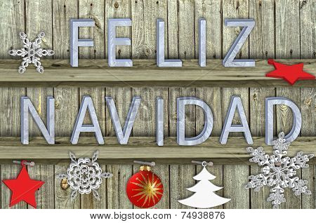 Letters Navidad On Wood  Background