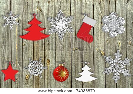 Snowflake And Ball On Wood  Background