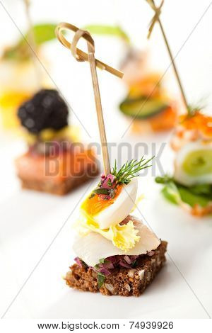 Seafood and Vegetables Canapes Dish