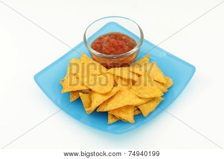 Tortilla Chips With Salsa Sauce In Dish On White Background
