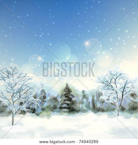 Winter Digital Watercolor Landscape