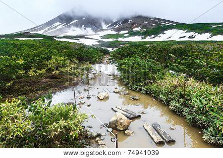 Walking Trail On Snow Covered Volcano, Asahidake