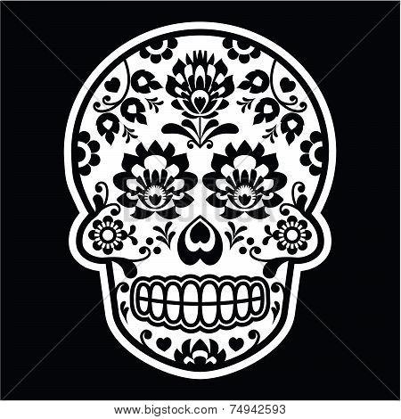 Mexican sugar skull - Polish folk art style on black