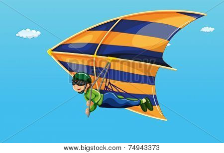 illustration of a man doing hang gliding