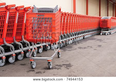 Red Baskets-carts On Wheels For Goods