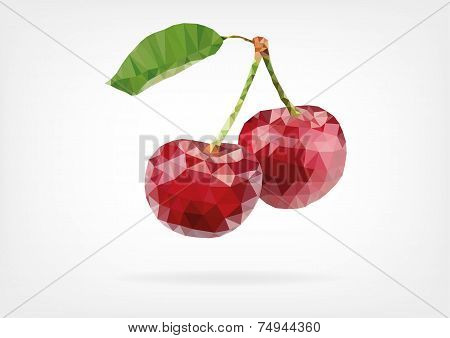 Low Poly red cherry berries