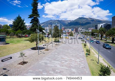 modern avenue in Quito Ecuador