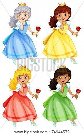 illustration of many princess