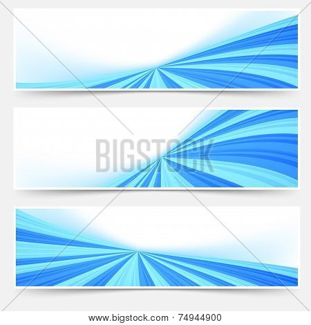 Blue Stream Swoosh Header Footer Web Set