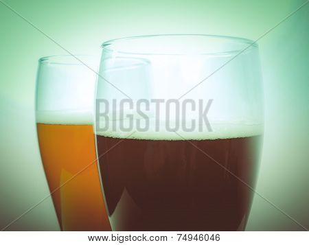 Retro Look Two Glasses Of German Beer