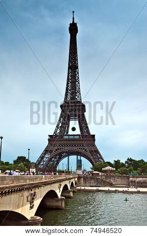 Paris - Eiffel Tower And Old Bridge