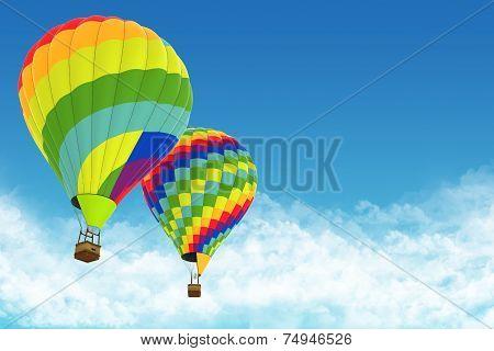 Beautiful Hot Air Balloons against a deep blue sky.