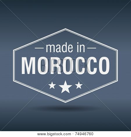 Made In Morocco Hexagonal White Vintage Label