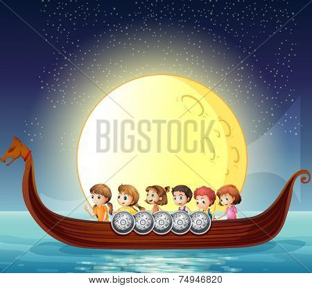 illustration of many children on a boat