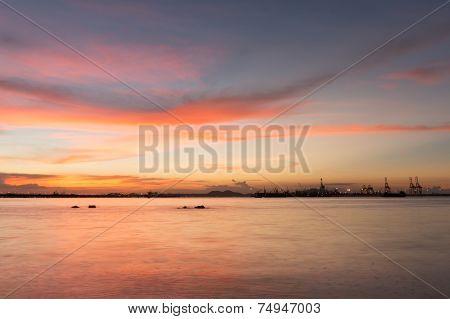 Twilight Of Laem Chabang Seaside At Sriracha With Sunset Sky