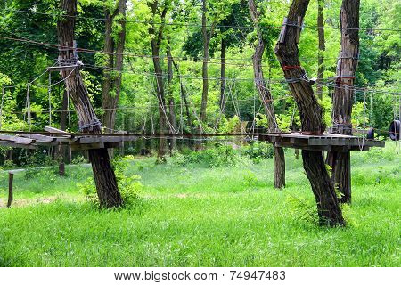 Rope Swinging Bridge For Training Camp In The Forest