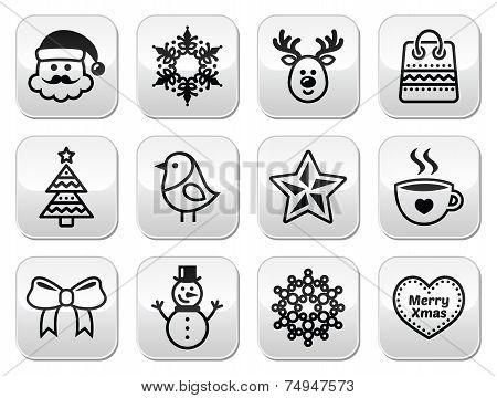 Christmas, winter buttons set - Santa Claus, snowman