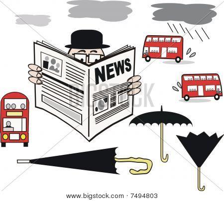 Newspaper man cartoon