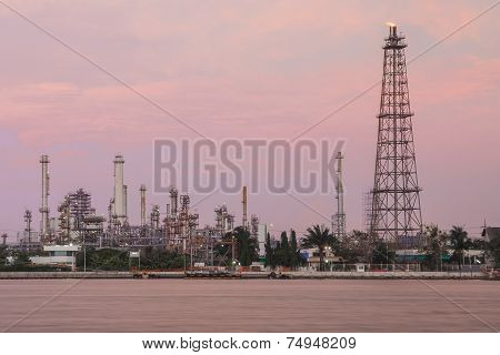 Oil refinery plant at Twilight