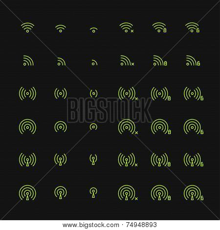 Set of different flat vector wi-fi and wireless icons for communicate using radio waves, remote acce