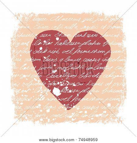 Romantic Design Template. Handwritten texture, heart shape, grunge frame and stains. Vector