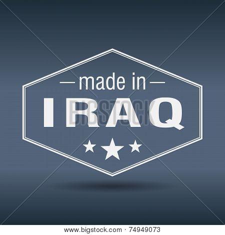 Made In Iraq Hexagonal White Vintage Label