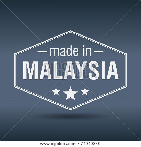 Made In Malaysia Hexagonal White Vintage Label