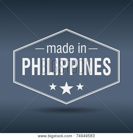 Made In Philippines Hexagonal White Vintage Label