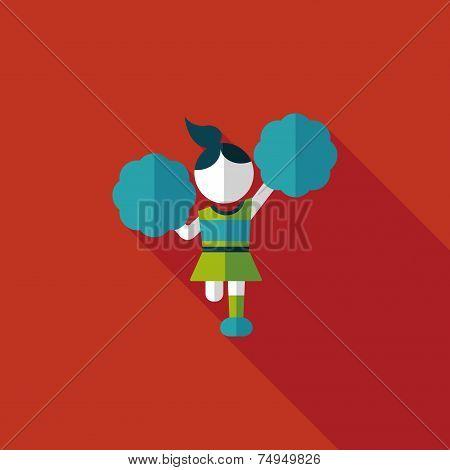 Cheerleader Flat Icon With Long Shadow,eps10