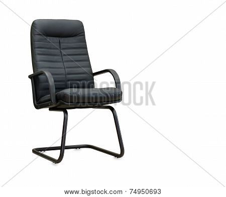 The Office Chair From Black Leather Isolated