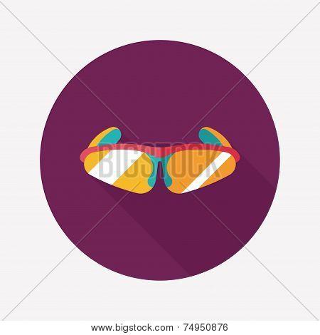 Bike Sunglasses Flat Icon With Long Shadow,eps10