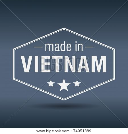 Made In Vietnam Hexagonal White Vintage Label