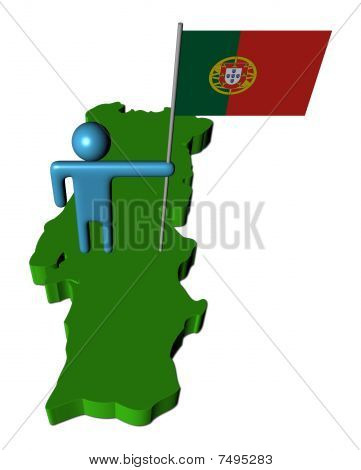 Person With Portugal Flag On Map