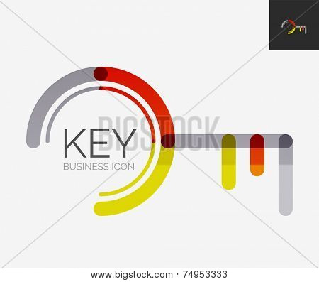 Minimal line design logo, business key icon, branding emblem