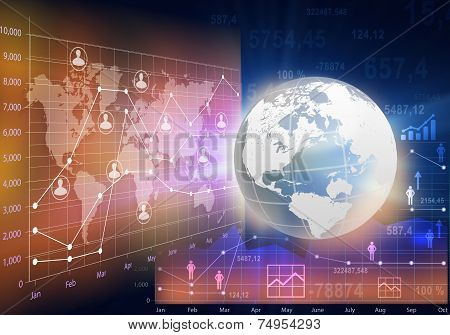 Globe and abstract business charts with the world map.