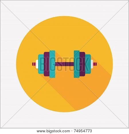 Dumbbell Flat Icon With Long Shadow,eps10