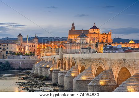 Cordoba, Spain view of the Roman Bridge and Mosque-Cathedral on the Guadalquivir River.