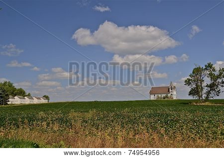 Church in bean field