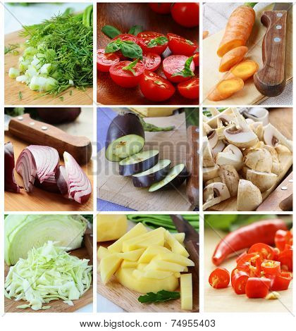 collage of different sliced vegetables (greens, eggplant, cabbage, tomatoes)