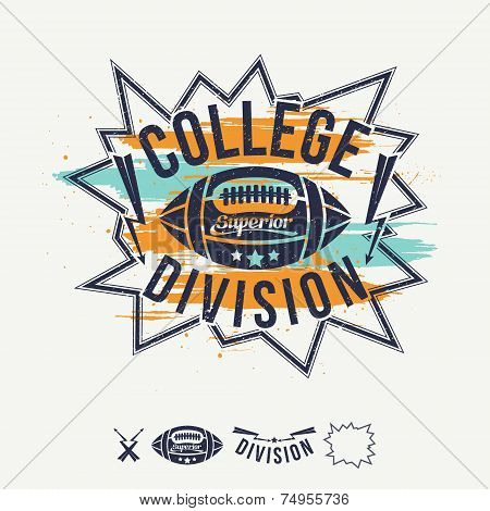 Rugby Emblem College Division And Design Elements