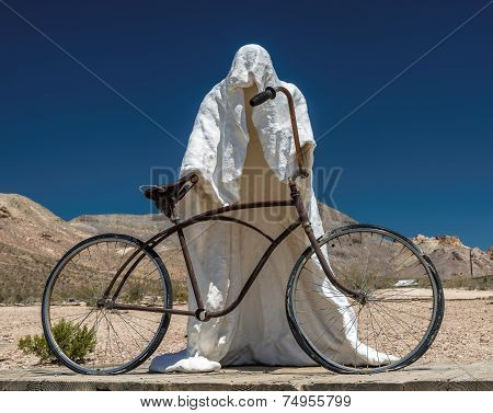 Death by bicycle in the desert, sculpture in Death Valley.