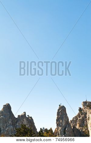 Blue Sky Over Ai-petri Rocks In Crimean Mountains