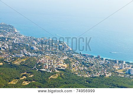View Of Big Yalta City On Southern Coast Of Crimea