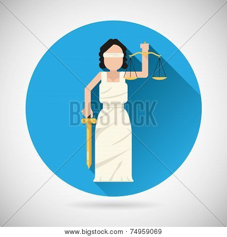 Themis Femida character with scales and sword icon law justice symbol flat vector illustration