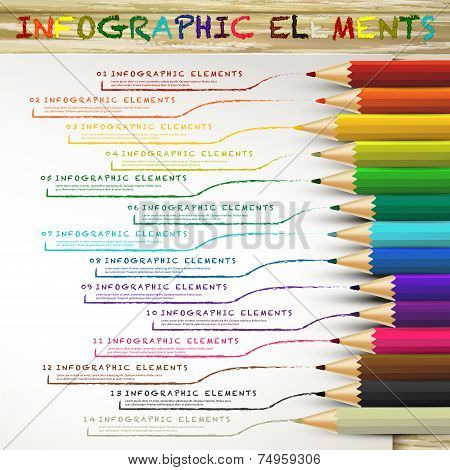 Education Infographic With Colorful Pencils Drawing Lines