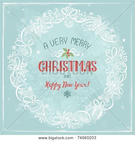 Greeting Christmas card with wreath of holiday symbols, hand-drawn illustration in vintage style.