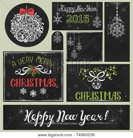 Collection of holiday drawing on chalkboard, hand-drawn Christmas illustration in vintage style.